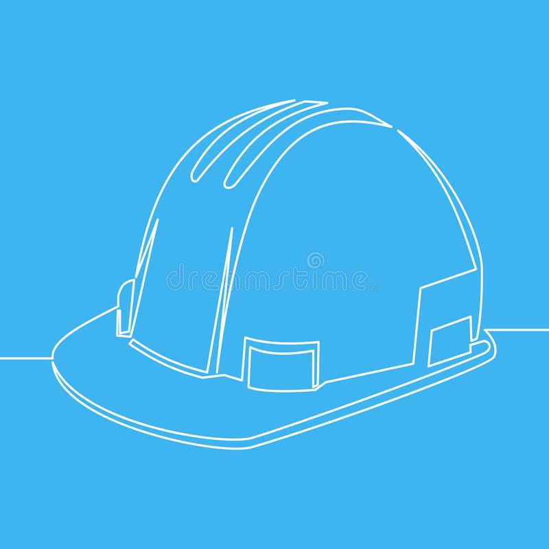 Construction safety helmet line style icon. Vector illustration isolated on blue background royalty free illustration