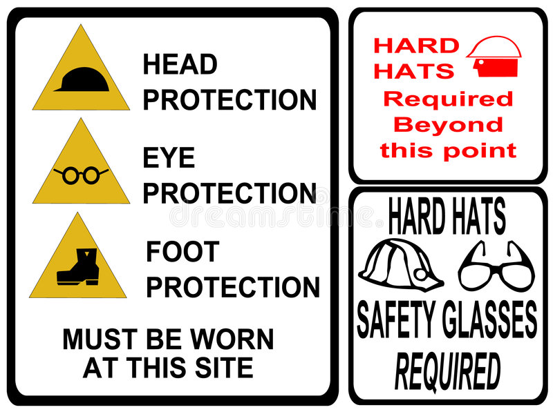 Construction safety signs. Eye head foot protection stock illustration