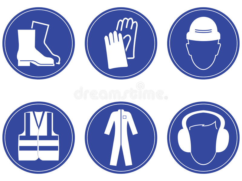 Construction safety Signs. Vector illustration royalty free illustration