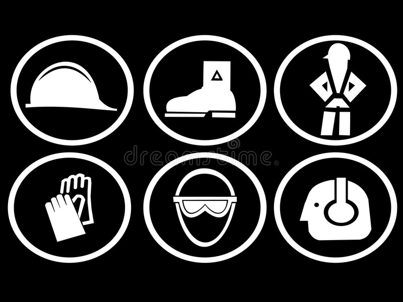Construction safety symbols. Construction site safety symbols hat boots harness gloves goggles and ear protection vector illustration