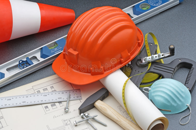 Construction safety tools royalty free stock photography