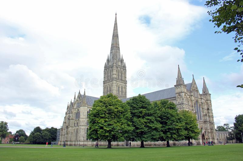 Cathedral At Salisbury, Southwest England. Construction of Salisbury Cathedral began in 1220 AD, when it was decided to move the original cathedral from Old royalty free stock image