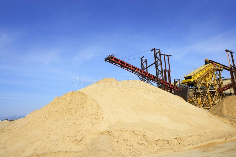 Construction Sand Quarry Stock Mountain Machinery Royalty Free Stock Photos