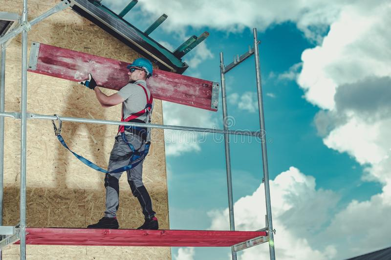 Construction Scaffolding Install stock photography