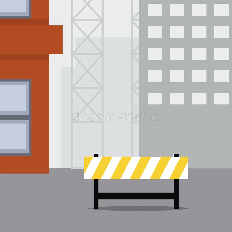 Construction scene, Warning sign stock illustration