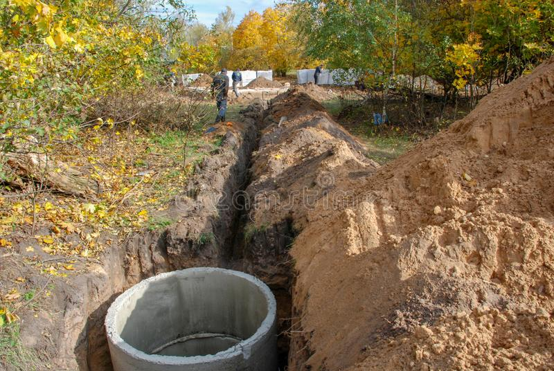The construction of the sewer to the house royalty free stock images