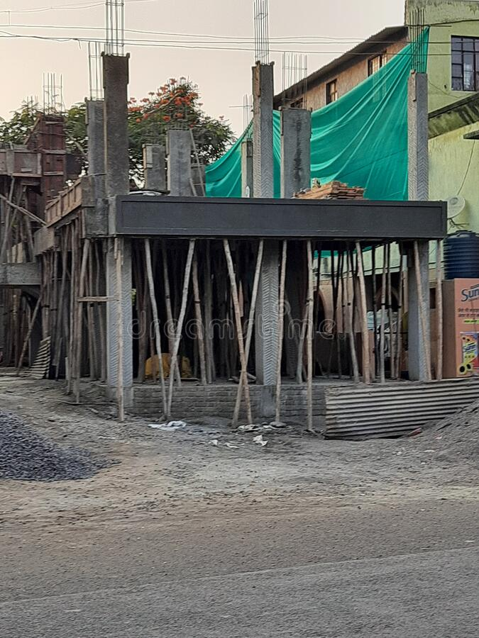 Construction sight in nashik India. Sign of the growing real estate in nashik stock photography