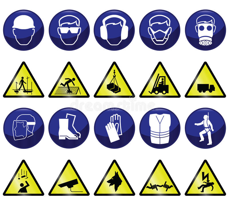 Construction signs. Construction related mandatory & hazards icons and signs vector illustration
