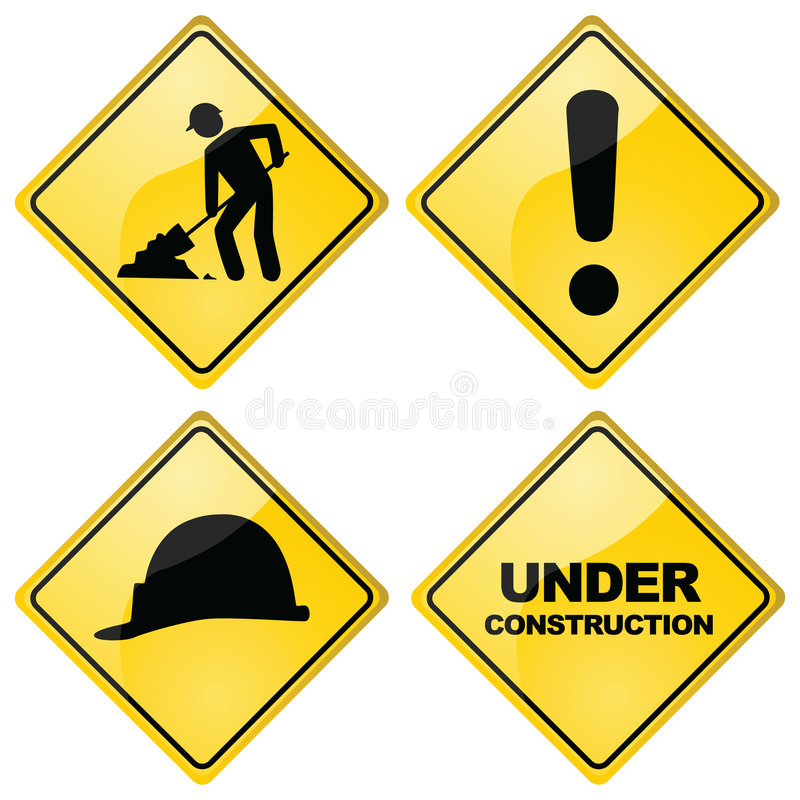 Construction signs. Set of four different glossy construction traffic signs royalty free illustration
