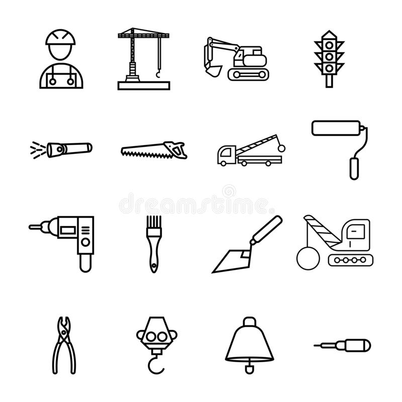 Construction sing symbol- vector icon set royalty free illustration