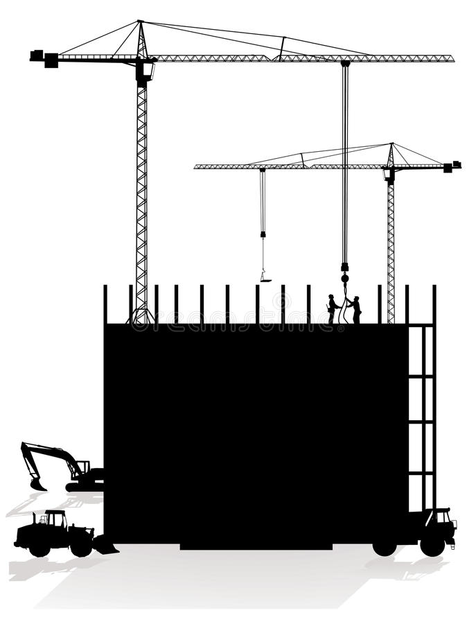 Download Construction site stock vector. Image of truck, crane - 18345655