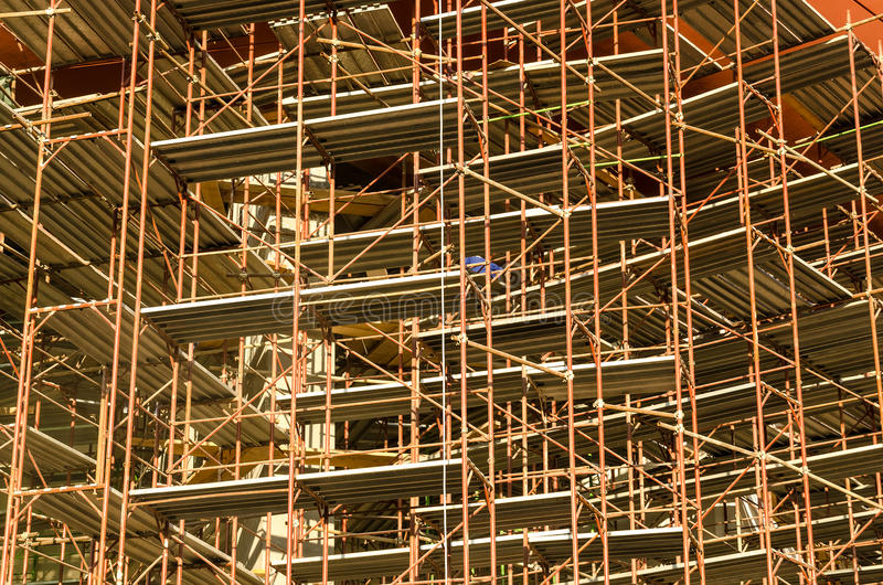 Construction Site. Steel Scaffolding On Construction Site royalty free stock photo