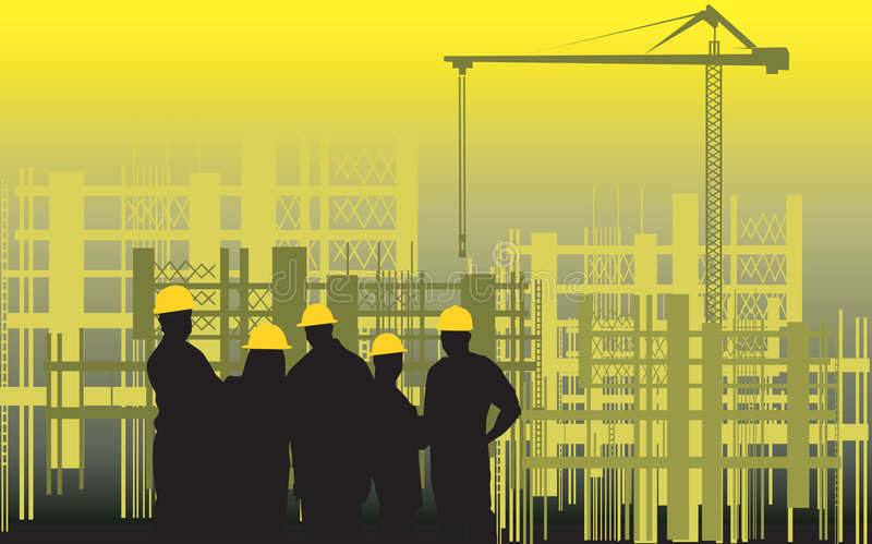 Construction site. Illustration of silhouette of group of men standing in a construction site stock illustration
