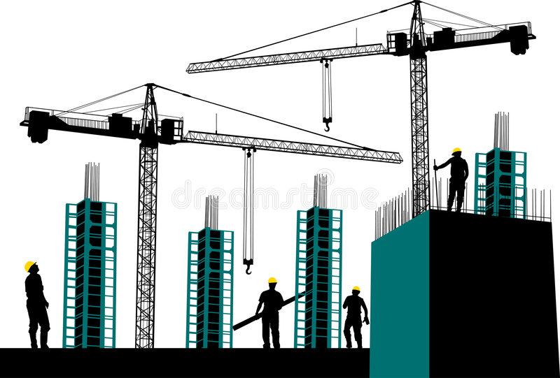 Construction site. Silhouette of construction site with workers and scaffolding vector illustration