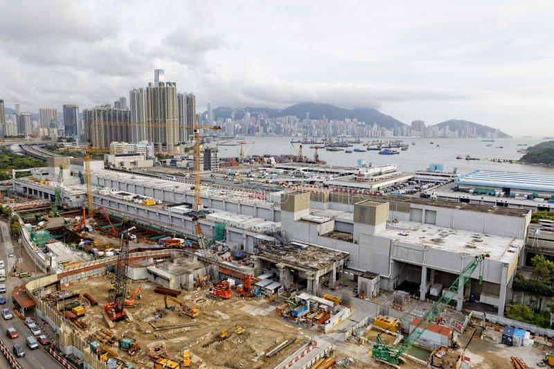 Construction site Aerial Shot. At day, hong kong royalty free stock photo
