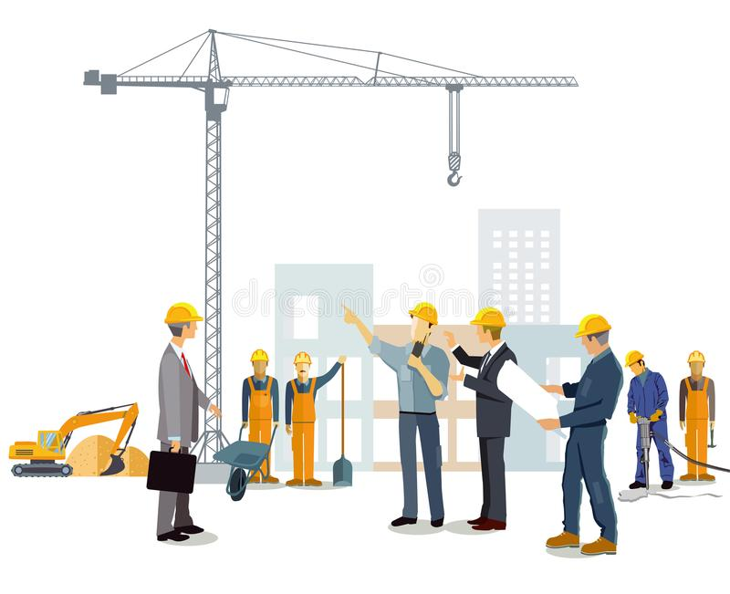 Construction site with architect and engineers. An illustration of a construction site with architects and engineers and workers with a tower crane on the royalty free illustration