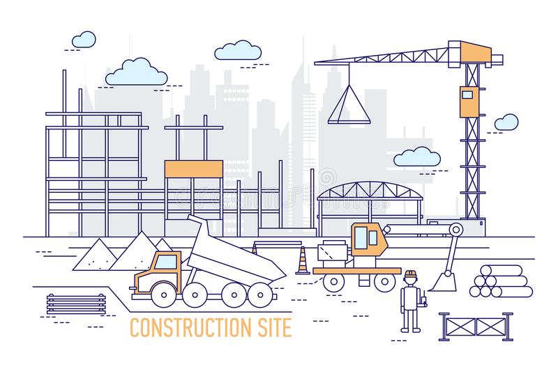 Construction site or area with constructed building, crane, excavator, dump truck, engineer wearing hard hat against vector illustration