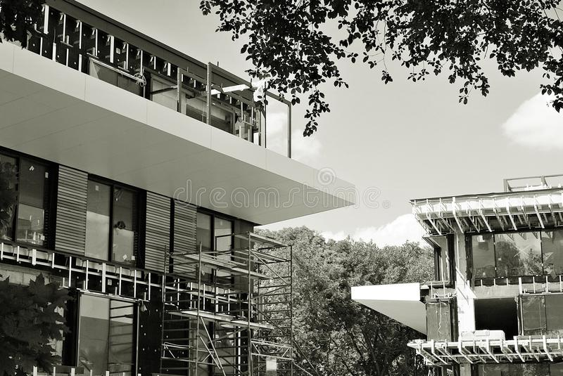 Construction site. Black and white. Building under construction. Architectural details of modern apartment building. Black and white royalty free stock photos
