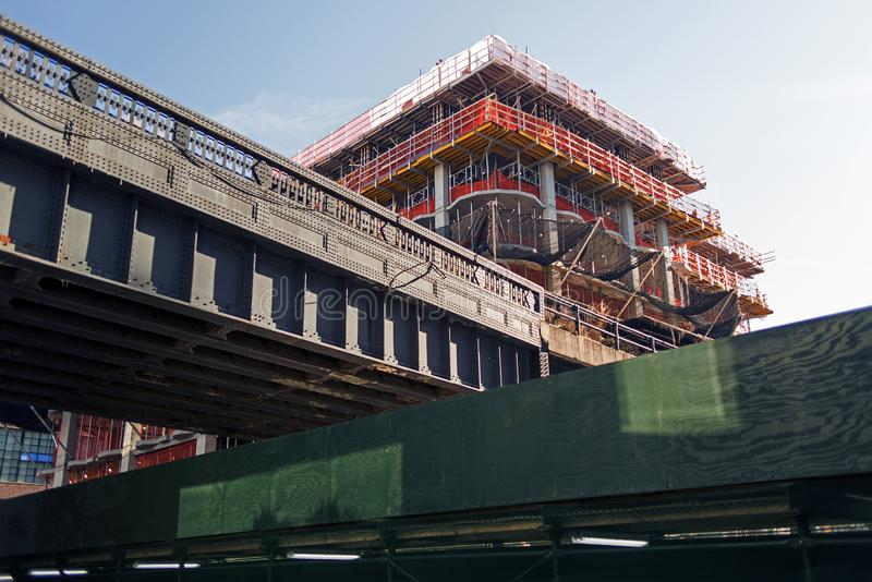 A construction site and a bridge in the city of New York stock photos