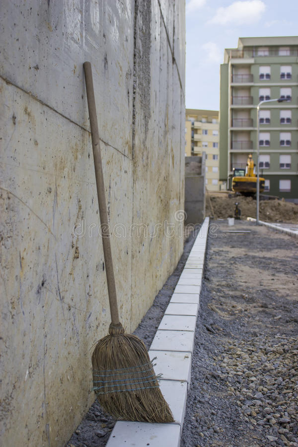 Construction site with broom stock photo