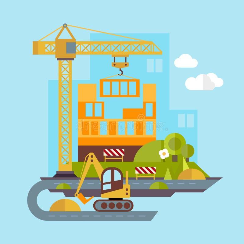 Construction Site, Building Flat Illustration. Construction site, building a house vector flat illustration vector illustration