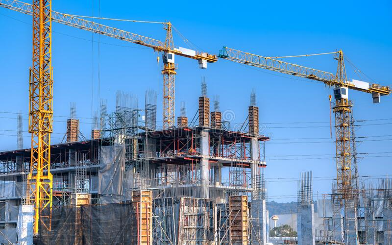Construction site are building with giant crane royalty free stock photos
