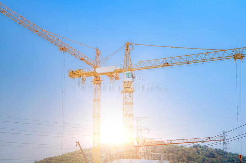 Construction site are building with giant crane royalty free stock images