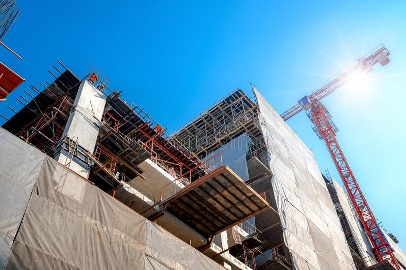 Construction site are building with giant crane stock image