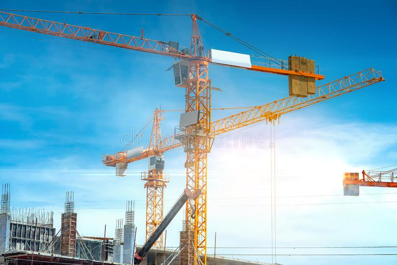 Construction site are building with giant crane stock images