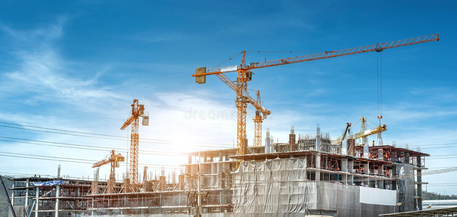 Construction site are building with giant crane stock photo