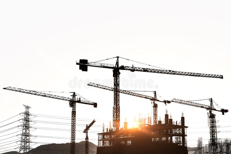 Construction site are building with giant crane royalty free stock photo