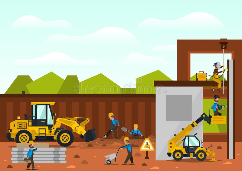 Construction site. The construction of the building. Isolated elements. Builders are doing their job. Front loaders and. Telehandlers. Fences. Against the vector illustration