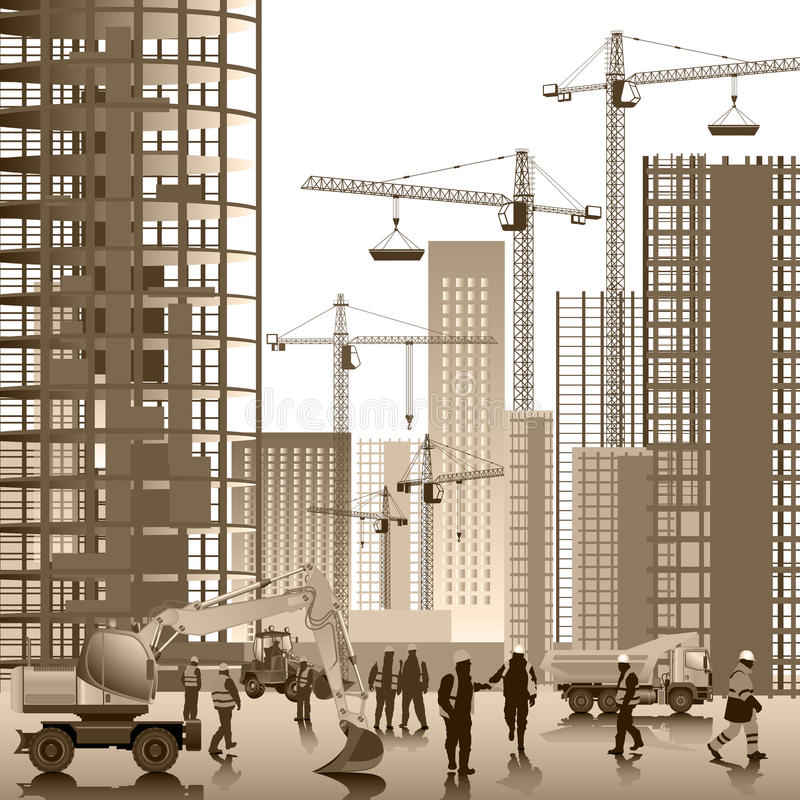 On the construction site vector illustration