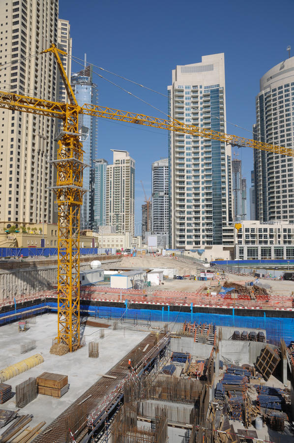 Construction site in the city. Dubai, United Arab Emirates stock photo