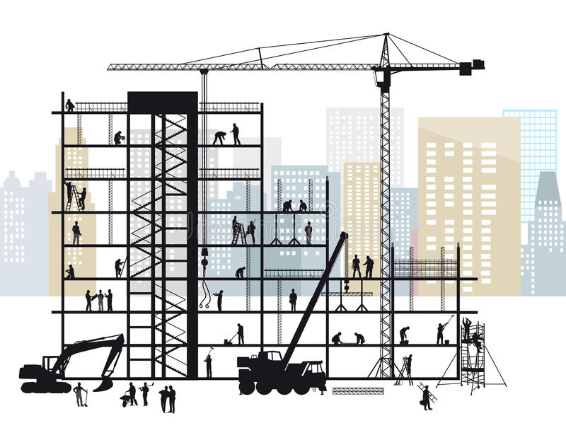 Construction site in city. An illustration of craftsmen and workers on a construction site in a city royalty free illustration