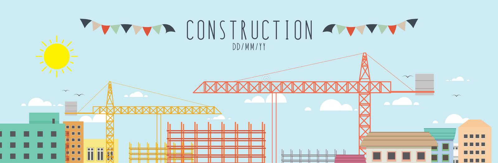 Construction site in the city. Vector illustration construction site in the city stock illustration