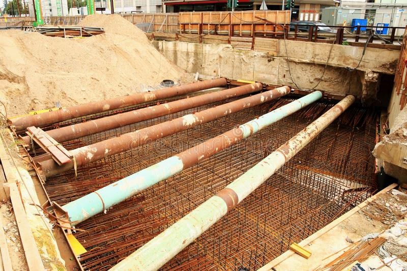 Construction site, civil engineering, pipe laying royalty free stock photography