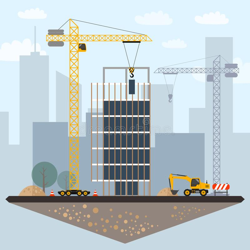 Construction site clip art with buildings, crane, excavator,. Construction sign, truck, scaffolding and city background royalty free illustration