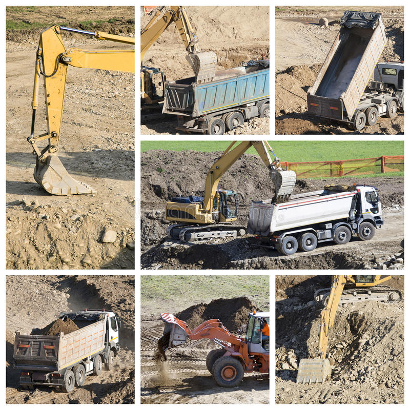 Construction site collage royalty free stock photo