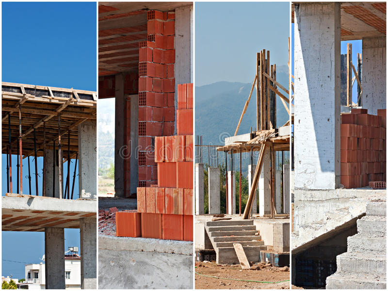 Construction site collage. Scenes from a working building site royalty free stock image