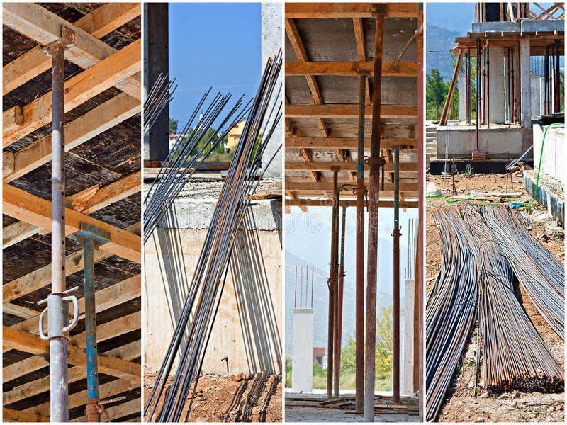 Construction site collage. Scenes from a working building site stock photography