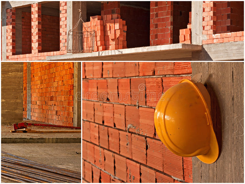 Construction site collage. Scenes from a working building site royalty free stock photo