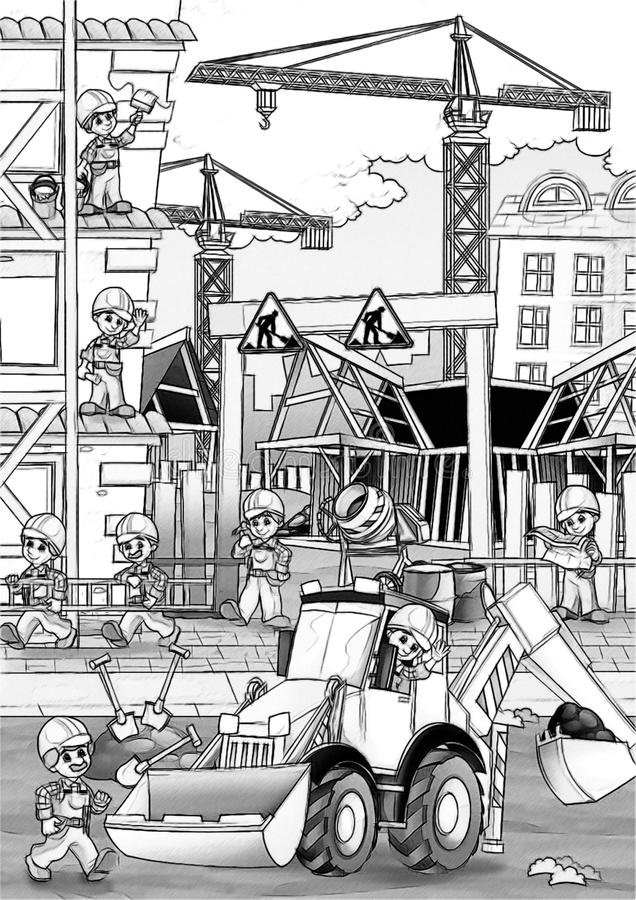 Construction Site - Coloring Page Stock Illustration - Illustration ...
