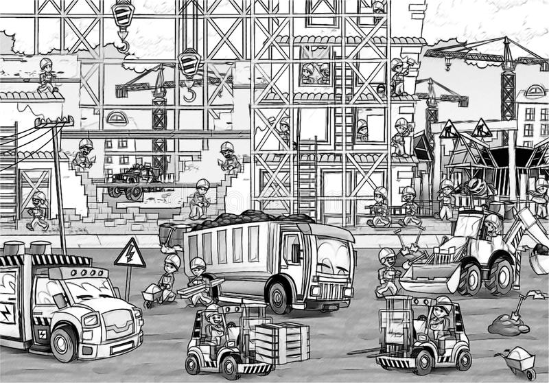 Construction Site - Coloring Page Stock Illustration ...