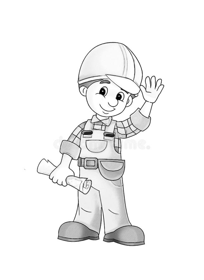 Construction site - coloring page royalty free illustration