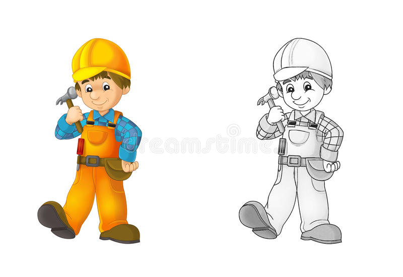 Construction site - coloring page with preview royalty free illustration
