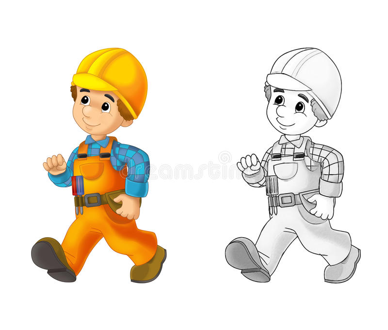 Construction site - coloring page with preview stock illustration
