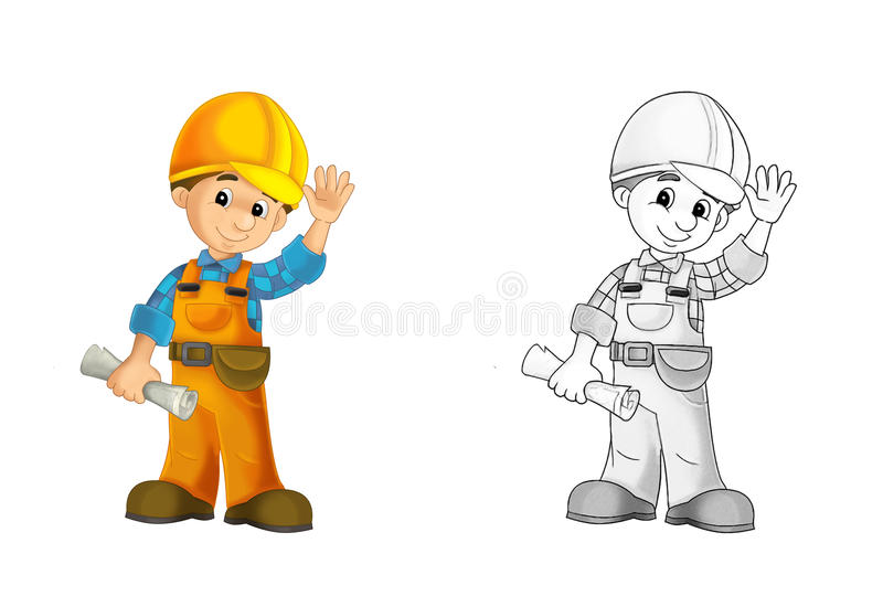 Construction site - coloring page with preview vector illustration
