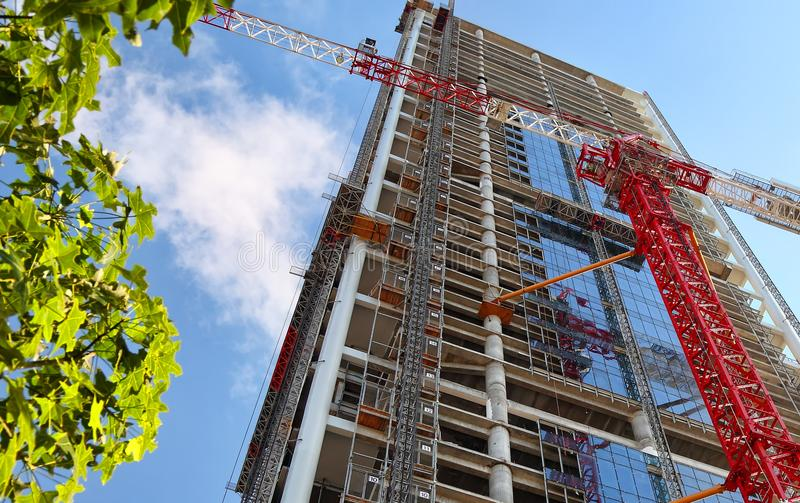 Construction site. Of a modern building. Upward View royalty free stock photography