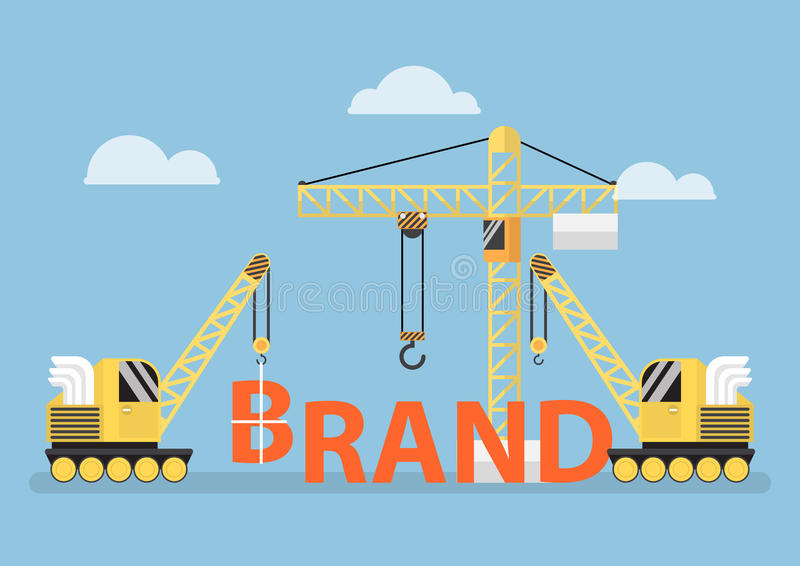 Construction site crane building big brand word vector illustration